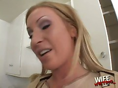 Blonde milf loves to suck black cock