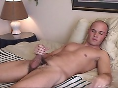 Bald gay hunk solo shower and jerking fun time on cam