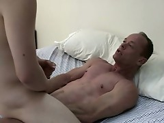 Young hot stud takes on a n older man's cock