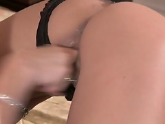 Lewd big tits blonde milf opens lesbian pussy wide for young slut