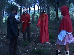 Little red riding slut getting gang banged by four forest devils