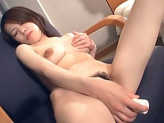 Horny asian milf gets wet hairy pussy toyed