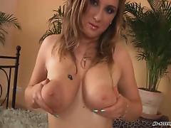 Blonde slut with huge titties fucking hard with sweet boner