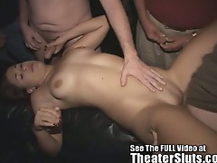 Young milf pounded by a group of strangers in theater