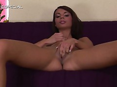 Sultry petite brunette slut deliriously playing sweet tight pussy