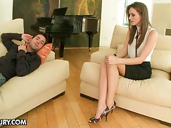Lovely brunette therapist with hot sexy feet