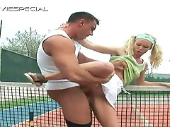 Cum eating blonde whore taking sweet cock after tennis match