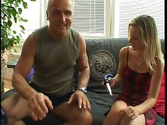 Small tited blnde lets guy play with her