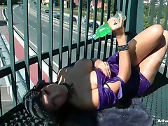 Big tits eurobabe solo pussy teasing show outdoors as cars pass