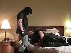 Horny fat daddy tied for some hardcore gay fucking
