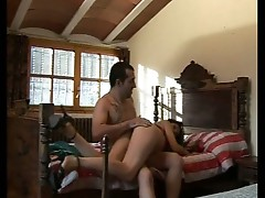 Sleeping brunette slut wakes up to endure ass spanking pleasures