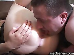 Mistress gives slave a dessert which is her ass hole