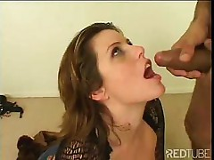 This cute redhead loves to shove cock down her throat for fun