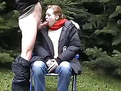 Danish teens are having fun filming a blowjob outside in the cold