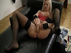 Blonde Zafira May gets banged hard after sucking on the cock