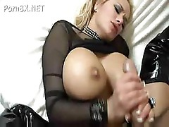 Blonde babe with huge tits sucks on a cock and then fucks it