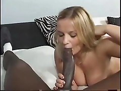 Blonde cutie goes after the monster cock and gets it in the eye