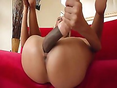 Clara G uses a large dildo until her friend gets the real thing