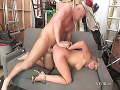 Nikki Jayne is sucking this guy's cock and letting it in her pussy too