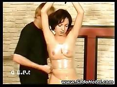 Slave girl wrapped in plastic film