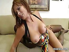 Monique Fuentes takes a large black cock in her front room