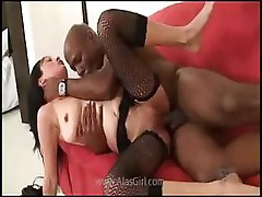 Young girl is introduced to a big hard black cock everywhere
