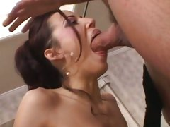 Layla Rivera gets a huge hot hard cock pushed deep down her tight throat