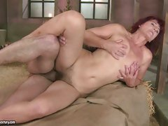 Stunning Milf Ria gets her smooth clean shaven pussy fucked hard by cock