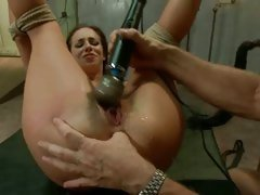 Jada Stevens teased to orgasm while tied by dildo