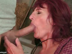 The hot stud didn't mind that he was mouth fucking grandma Ria