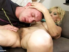 Grandma slut Irene gets that attention of young hot men with her hairy bush.