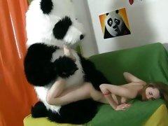 Slutty hot teen gets shagged hard and deep by Panda