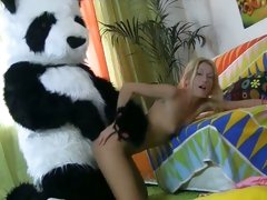 Hot horny Panda fucking a sexy teen deep doggystyle