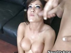 Cock hungry nympho Capri Cavalli gets her lubed hole stuffed by a large cock