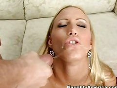 Cassie Young  a nughty blond always enjoyed her man's jizz on her mouth