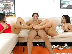 Luscious and her little naughty friend Summer get their feet all up on a dick