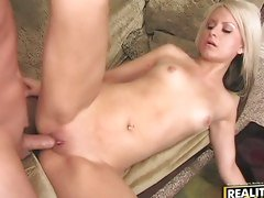 Blonde doll Barbie Addison's pussy gets wrecked by a dino dick