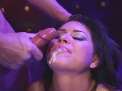 Sleazy Eva Angelina has her mouth loaded with man goo