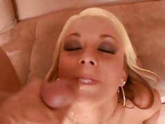 Saucy whore Brandy Blair with a face full of fresh cum