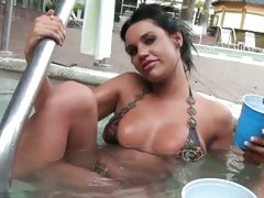 Hot ex girlfriend in a bikini in your pool! SWEET!