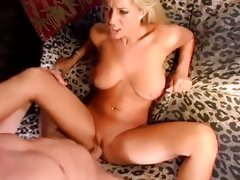 Wet and wild cunt whore Sammie Rhodes jumps on a hard man meat
