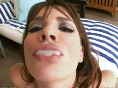 Dana DeArmond gets a messy surpise from her huge lollie pop she's sucking
