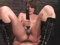 Horny Penny Flame torments her dripping snatch