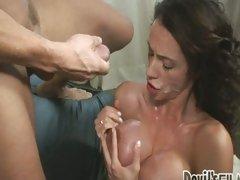Busty Ariella Ferrera gets her steamy hot tits covered in cum
