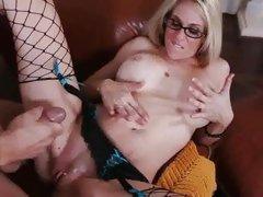 Man wanks off cock splashing jizz all over Angela Attis