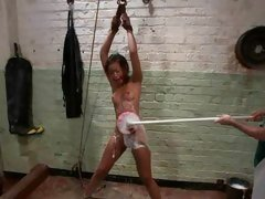 Dirty slut Skin Diamond gets tied up & scrubbed down