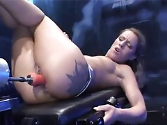 Filthy sadomasochism serf tAking a Machine dick up her slit