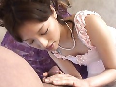 Japanese slut sucking a big cock