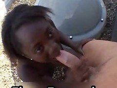 Ebony woman sucks dick til man cums in her mouth