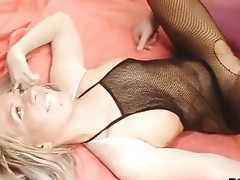 Chubby shlong stud wears pantyhose and covers hot blond Cristal with loads of cum